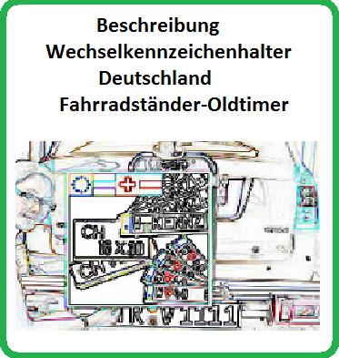 Wechselkennzeichenhalter für Fahrradträger-Oldtimer-EU-Normen
