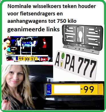 Nominale wisselkoers teken houder voor fietsendragers en aanhangwagens tot 750 kilo www.wechselkennzeichenrahmen.de