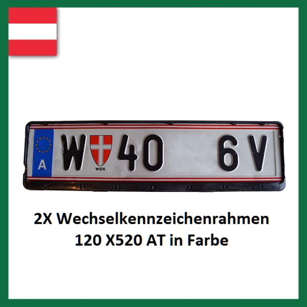 2X Wechselkennzeichenrahmen Österreich 120X520 in Farbe